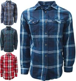 Plaid, Flannel Shirts for Men, Long Sleeve Button Down - Siz