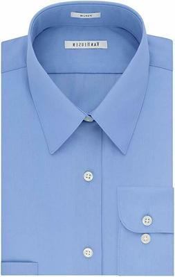 Van Heusen Men's Poplin Regular Fit Solid Point Collar Dress