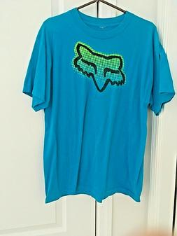 Fox Racing Mens shirt t-shirt Tee SZ Large Teal Fox Motor cr