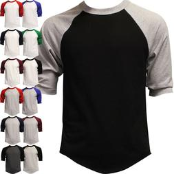 Raglan 3/4 Sleeve Baseball T Shirt Mens Plain Tee Jersey Tea