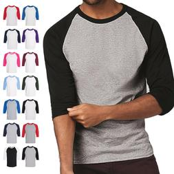 Raglan 3/4 Sleeve New Plain T-Shirt Baseball Tee S-3XL Jerse