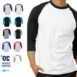 Mens Baseball T-Shirt Raglan Casual 3/4 Sleeve Plain Jersey