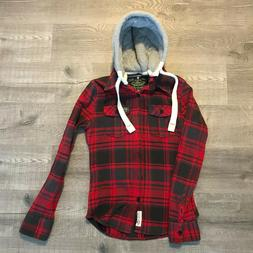 red Superdry lumberjack shirt with detachable hood size M