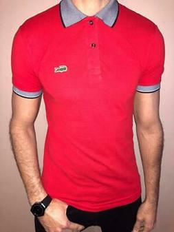 LACOSTE REGULAR FIT PIQUE POLO SHIRT MEN RED MULTI COLOR NWT