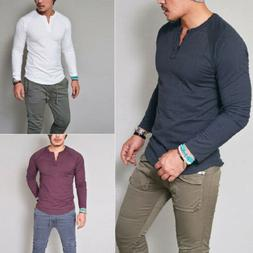 Remikstyt Mens Henley Long Sleeve Shirts Casual Slim Fit Pul