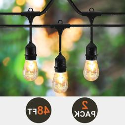 2-Pack SUNTHIN 48ft String of Lights with 15 x E26 Sockets a