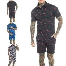 Summer Mens Casual Floral Button Down Shirt and Shorts 2 Pie