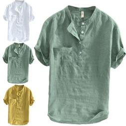Summer Mens Cotton Blend T Shirt Henley Tops Casual Loose V