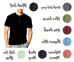 Hanes T Shirts Mens Heritage 1901 Dyed Short Sleeve Henley T