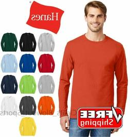 Hanes Tagless Long Sleeve T-Shirt Comfort Cotton Soft Plain