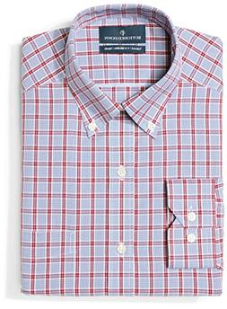 BUTTONED DOWN Men's Tailored Fit Button-Collar Pattern Non-I