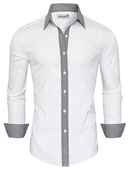 TAM WARE Mens Casual Slim Fit Contrast Lining Button Down Dr