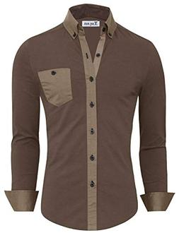 TAM Ware Mens Stylish Contrast Chest Pocket Long Sleeve Dres
