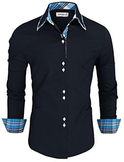 TAM Ware Mens Trendy Slim Fit Inner Checkered Button Down Sh