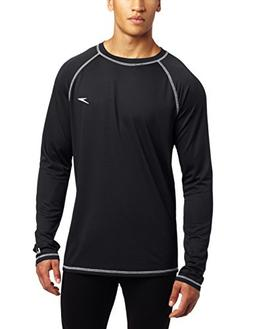 Speedo Men's UPF 50+ Easy Long Sleeve Rashguard Swim Tee,Bla