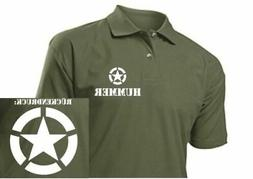 US Army Polo Shirt Hummer Allied Star Size S-3XL H1 H2 H3 4x