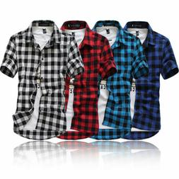 US Fashion Men's Summer Casual Dress Shirt Mens Plaid Short