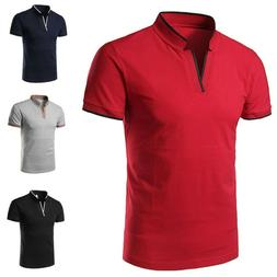US Men Polo Shirts Short Sleeve Collar Basic Tee Casual Blou