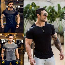 Fashion Men's Slim Fit O Neck Short Sleeve Muscle Tee T-shir