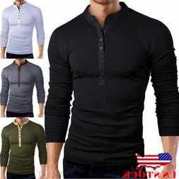 US Mens Slim Fit V Neck Long Sleeve Muscle Tee T-shirt Casua