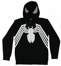 Venom  Mens Zip Up Hoodie- Costume front Open Hood Image