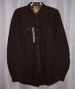 Carhartt Weathered Men's Brown Shirt Snap Front Canvas Jacke
