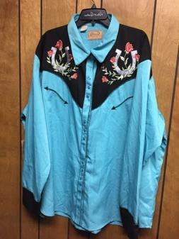 Scully Western Mens Blue Polyester 3X Tooled Floral Embroide