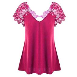 Womens Plus Size Short Sleeve Tops V-Neck Lace Trim Cutwork